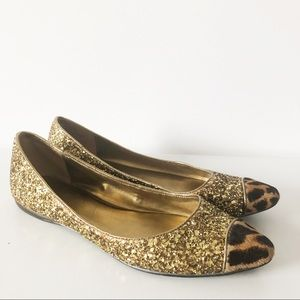 Nine West gold glitter flats with faux fur leopard